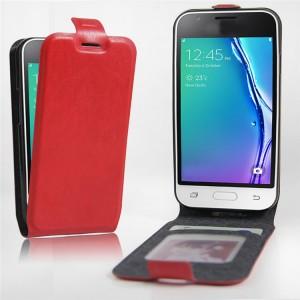 Чехол вертикальная книжка на силиконовой основе с отсеком для карт на магнитной защелке для Samsung Galaxy J1 mini (2016)  Красный