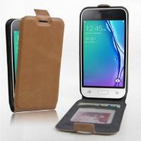 Чехол вертикальная книжка на силиконовой основе с отсеком для карт на магнитной защелке для Samsung Galaxy J1 mini (2016)  Бежевый
