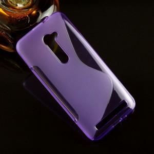 Силиконовый матовый полупрозрачный чехол с дизайнерской текстурой S для Asus Zenfone 2 5  Фиолетовый