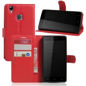 Чехол портмоне подставка на силиконовой основе на магнитной защелке для Doogee X5 Max  Красный