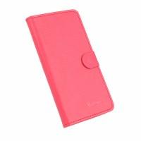 Текстурный чехол горизонтальная книжка подставка на клеевой основе с отсеком для карт на магнитной защелке для Doogee X5 Max  Красный
