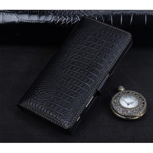 Кожаный чехол портмоне подставка (премиум нат. кожа крокодила) с крепежной застежкой для Sony Xperia E5