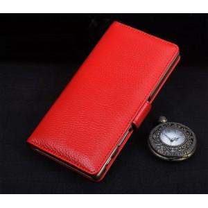 Кожаный чехол портмоне подставка (премиум нат. кожа) с крепежной застежкой для Sony Xperia E5