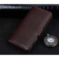 Кожаный чехол портмоне подставка (премиум нат. кожа) с крепежной застежкой для Sony Xperia E5 Коричневый