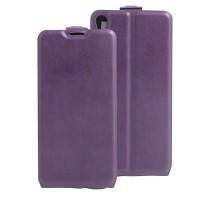 Чехол вертикальная книжка на силиконовой основе с отсеком для карт на магнитной защелке для Sony Xperia E5 Фиолетовый