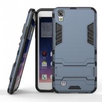 Противоударный двухкомпонентный силиконовый матовый непрозрачный чехол с поликарбонатными вставками экстрим защиты с встроенной ножкой-подставкой для LG X Power  Синий