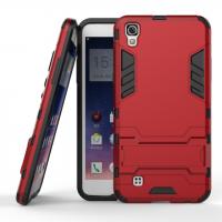 Противоударный двухкомпонентный силиконовый матовый непрозрачный чехол с поликарбонатными вставками экстрим защиты с встроенной ножкой-подставкой для LG X Power  Красный
