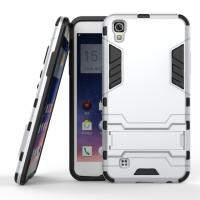 Противоударный двухкомпонентный силиконовый матовый непрозрачный чехол с поликарбонатными вставками экстрим защиты с встроенной ножкой-подставкой для LG X Power  Белый