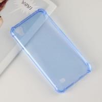 Силиконовый глянцевый полупрозрачный чехол с усиленными углами для LG X Power Синий