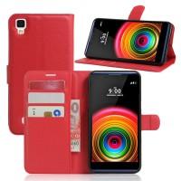 Чехол портмоне подставка на силиконовой основе на магнитной защелке для LG X Power  Красный