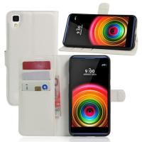 Чехол портмоне подставка на силиконовой основе на магнитной защелке для LG X Power  Белый