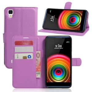 Чехол портмоне подставка на силиконовой основе на магнитной защелке для LG X Power  Фиолетовый