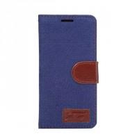 Чехол горизонтальная книжка подставка текстура Узоры на силиконовой основе с отсеком для карт на магнитной защелке с тканевым покрытием для Sony Xperia X Performance  Синий