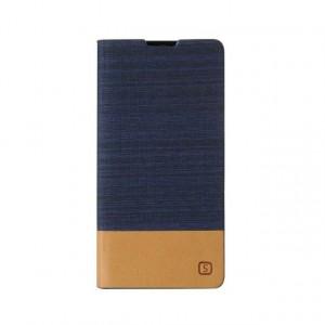 Чехол горизонтальная книжка подставка текстура Линии на силиконовой основе с отсеком для карт на магнитной защелке с тканевым покрытием для Sony Xperia X Performance  Синий