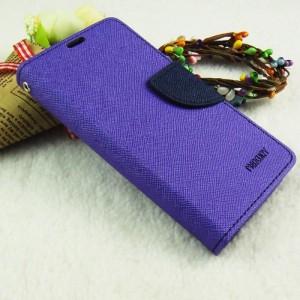 Чехол горизонтальная книжка подставка на силиконовой основе на дизайнерской магнитной защелке для Sony Xperia X Performance Фиолетовый