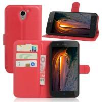 Чехол портмоне подставка на силиконовой основе на магнитной защелке для ZTE Blade A510 Красный