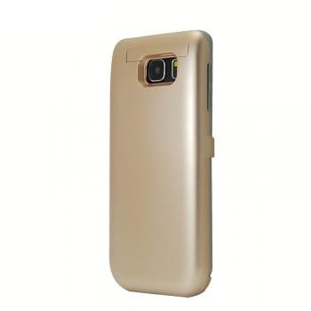 Пластиковый непрозрачный матовый чехол с встроенным аккумулятором 4800мАч и подставкой для Samsung Galaxy Note 5