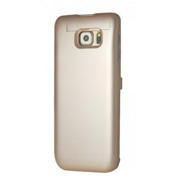 Пластиковый непрозрачный матовый чехол с встроенным аккумулятором 4800 мАч и подставкой для Samsung Galaxy S6 Edge Plus