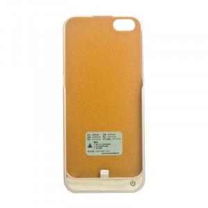 Пластиковый непрозрачный матовый чехол с встроенным аккумулятором 4200 мАч и подставкой для Iphone 5/5s/SE Бежевый