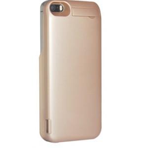 Пластиковый непрозрачный матовый чехол с встроенным аккумулятором 4200 мАч и подставкой для Iphone 5/5s/SE