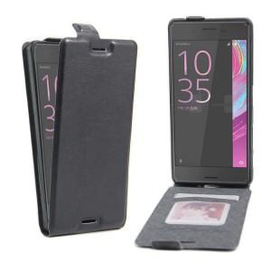 Чехол вертикальная книжка на силиконовой основе с отсеком для карт на магнитной защелке для Sony Xperia X Performance  Черный