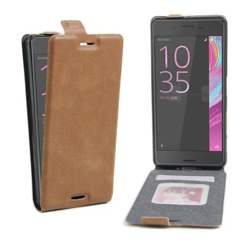 Чехол вертикальная книжка на силиконовой основе с отсеком для карт на магнитной защелке для Sony Xperia X Performance