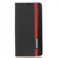 Чехол горизонтальная книжка подставка текстура Линии на силиконовой основе с отсеком для карт на магнитной защелке для Sony Xperia XA Ultra  Черный