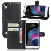 Чехол портмоне подставка на силиконовой основе на магнитной защелке для LG X Style  Черный