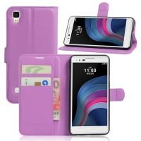 Чехол портмоне подставка на силиконовой основе на магнитной защелке для LG X Style  Фиолетовый