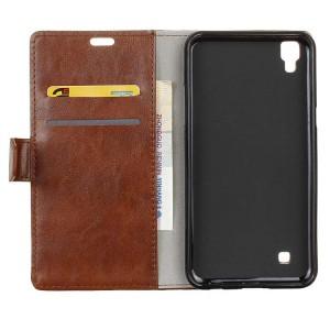 Глянцевый чехол портмоне подставка на силиконовой основе на магнитной защелке для LG X Style  Коричневый
