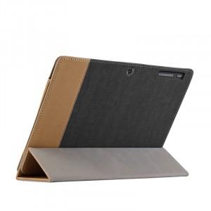 Сегментарный чехол книжка подставка текстура Линии с рамочной защитой экрана для Lenovo IdeaPad Miix 300  Черный