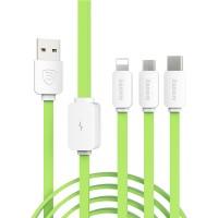 Кабель-хаб USB-Micro USB, USB type C, Lightning 1.2м 2.1А силиконовый плоского сечения для одновременной зарядки 3 гаджетов Зеленый