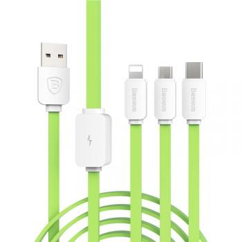 Кабель-хаб USB-Micro USB, USB type C, Lightning 1.2м 2.1А силиконовый плоского сечения для одновременной зарядки 3 гаджетов