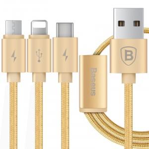 Кабель-хаб USB-Micro USB, USB type C, Lightning 1.2м 2.1А в тканевой оплетке для одновременной зарядки 3 гаджетов Бежевый