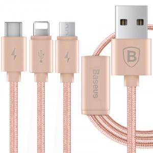 Кабель-хаб USB-Micro USB, USB type C, Lightning 1.2м 2.1А в тканевой оплетке для одновременной зарядки 3 гаджетов Розовый