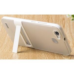 Двухкомпонентный силиконовый матовый непрозрачный чехол с поликарбонатным бампером и встроенной ножкой-подставкой для Huawei GR3  Белый