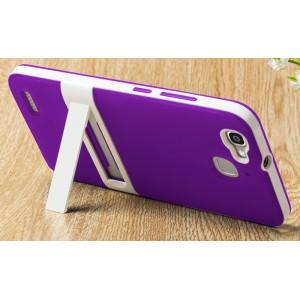 Двухкомпонентный силиконовый матовый непрозрачный чехол с поликарбонатным бампером и встроенной ножкой-подставкой для Huawei GR3  Фиолетовый