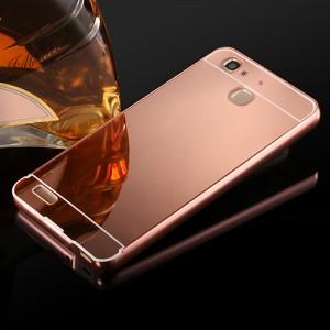 Двухкомпонентный чехол c металлическим бампером с поликарбонатной накладкой и зеркальным покрытием для Huawei GR3 Розовый