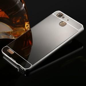 Двухкомпонентный чехол c металлическим бампером с поликарбонатной накладкой и зеркальным покрытием для Huawei GR3 Черный