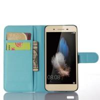 Чехол портмоне подставка на пластиковой основе на магнитной защелке для Huawei GR3 Голубой