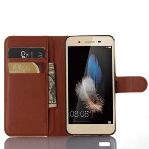 Чехол портмоне подставка на магнитной защелке для Huawei GR3 Коричневый