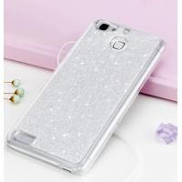 Пластиковый непрозрачный матовый чехол с аппликацией стразами для Huawei GR3  Белый