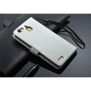 Винтажный чехол портмоне подставка на пластиковой основе на магнитной защелке для Huawei GR3  Белый