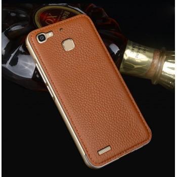 Двухкомпонентный чехол c металлическим бампером с поликарбонатной накладкой и поверхностью из нат. кожи для Huawei GR3