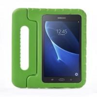 Ударостойкий детский силиконовый матовый гиппоаллергенный непрозрачный чехол с встроенной ножкой-подставкой для Samsung Galaxy Tab A 7 (2016)  Зеленый
