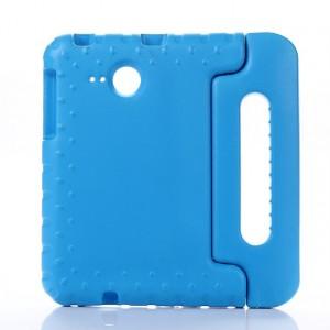 Ударостойкий детский силиконовый матовый гиппоаллергенный непрозрачный чехол с встроенной ножкой-подставкой для Samsung Galaxy Tab A 7 (2016)  Голубой