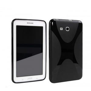 Силиконовый матовый полупрозрачный чехол с дизайнерской текстурой X для Samsung Galaxy Tab A 7 (2016) Черный
