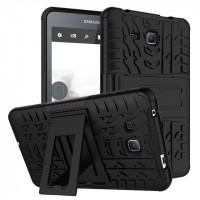 Противоударный двухкомпонентный силиконовый матовый непрозрачный чехол с поликарбонатными вставками и встроенной ножкой-подставкой для Samsung Galaxy Tab A 7 (2016)  Черный