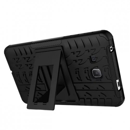 Противоударный двухкомпонентный силиконовый матовый непрозрачный чехол с поликарбонатными вставками и встроенной ножкой-подставкой для Samsung Galaxy Tab A 7 (2016)