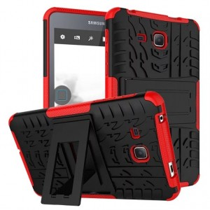 Противоударный двухкомпонентный силиконовый матовый непрозрачный чехол с поликарбонатными вставками и встроенной ножкой-подставкой для Samsung Galaxy Tab A 7 (2016) Красный